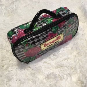 Betseyville Houndstooth and Rose Cosmetic Bag Case